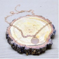 3.5mm Rose Gold Stainless Steel Rolo Necklace with Heart pendant