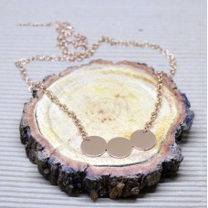 3.5mm Rose Gold Stainless Steel Rolo Necklace with Discs pendant