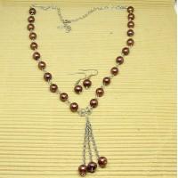 Stainless Steel Brown Pearls Tassle Necklace