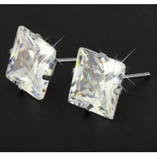 6mm Princess cut Stainless Steel Earrings