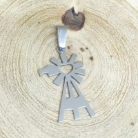 Stainless Steel Pendant - Large Windmill