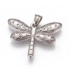 Stainless Steel Pendant - Medium Dragonfly