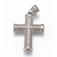Stainless Steel Pendant - Big Cross with detail