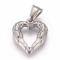 Stainless Steel Pendant - Medium Winged Heart