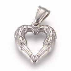 Stainless Steel Pendant - Medium Winged Heart