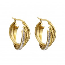 Gold Plated Stainless Steel Clay Pave Earrings