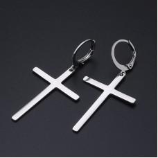 Stainless Steel Dangling Cross Earrings