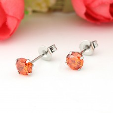 5mm Orange Stainless Steel Cubic Stud Earrings
