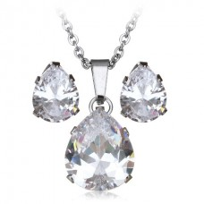 2Pc Clear Teardrop Stainless Steel Set with Necklace & Earrings