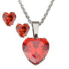 2Pc Ruby Red Heart Stainless Steel Set with Necklace & Earrings