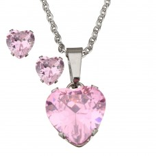 2Pc Pink Heart Stainless Steel Set with Necklace & Earrings