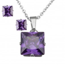 ETHAN 2Pc Purple Princess Cut Stainless Steel Set with Necklace & Earrings