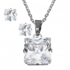 2Pc Clear Princess Cut Stainless Steel Set with Necklace & Earrings