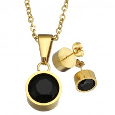 2Pc Black Round Stainless Steel Set with Necklace & Earrings