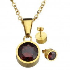 2Pc Deep Red Round Stainless Steel Set with Necklace & Earrings