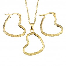 2Pc Gold Plated Stainless Steel Set with Necklace & Earrings