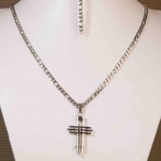 4mm Stainless Steel Mens Bracelet & Necklace set