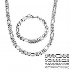 8mm Stainless Steel Mens Bracelet & Necklace set
