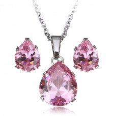 2Pc Pink Teardrop Stainless Steel Set with Necklace & Earrings