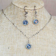 Light Blue Stainless Steel Earrings & Necklace set