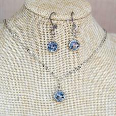 Light Blue Stainless Steel Earrings & Necklace set