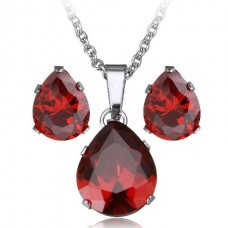 2Pc Deep Red Teardrop Stainless Steel Set with Necklace & Earrings