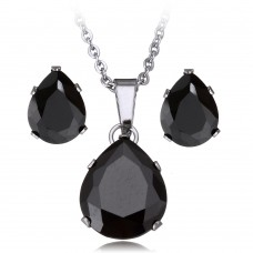 2Pc Black Trardrop Stainless Steel Set with Necklace & Earrings