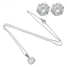 2Pc Clear Round Stainless Steel Set with Necklace & Earrings