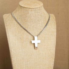 Stainless Steel Mens Necklace with Cross