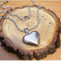 2Pc Stainless Steel Set with 60cm Heart Necklace & bracelet