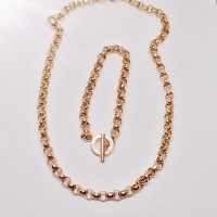 7mm Rose Gold Rolo Stainless Steel Set