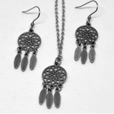 2Pc Dreamcatcher Stainless Steel Set with Necklace & Earrings