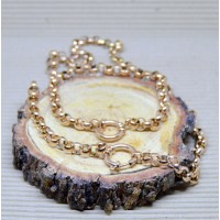 7mm Rose Gold Stainless Steel Rolo Necklace and Bracelet set