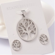 Stainless Steel Tree of Life Earring & Necklace set