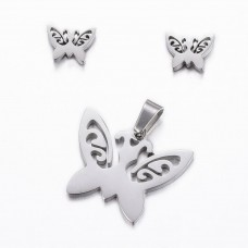 Stainless Steel Butterfly Earring & Necklace set