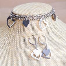 Hearts Stainless Steel Bracelet & Earrings Set