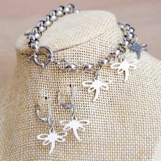 Dragonfly Stainless Steel Bracelet & Earrings Set