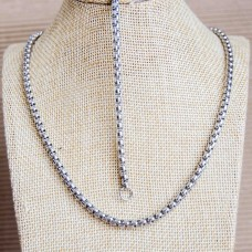4mm Stainless Steel UNISEX Bracelet & 72cm Necklace set
