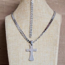 5mm Stainless Steel Mens Bracelet & Cross Necklace set