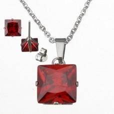 2Pc Red Princess Cut Stainless Steel Set with Necklace & Earrings