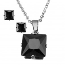2Pc Black Princess Cut Stainless Steel Set with Necklace & Earrings