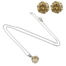 2Pc Champagne Round Stainless Steel Set with Necklace & Earrings