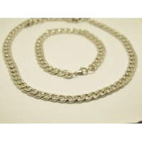 10mm Stainless Steel Curb Link Bracelet & 68cm Necklace set