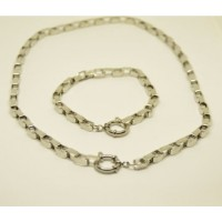 5mm Rectangular Stainless Steel Set with 47cm Necklace & Bracelet