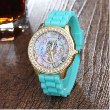 Silicone, with zinc alloy dial & Rhinestone Watch