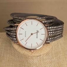 Faux Suede Bracelets Gray Rhinestone Watch