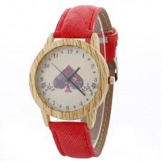 Faux Leather Mock Wood Spade Watch