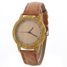Faux Leather Mock Wood Watch