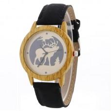 Faux Leather Mock Wood Moose Watch