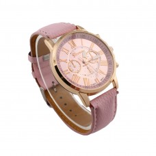 Faux Leather Classical Watch - Pink